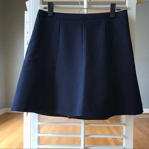 J. Crew Navy Blue Fluted Mini Skirt